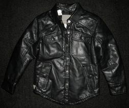 NEW RARE GUESS BLACK FAUX LEATHER MOTORCYCLE SHIRT JACKET CO