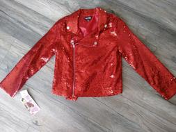 New Size 7-8 10-12 JoJo Siwa Red Motorcycle Style Sequined J