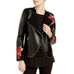 INC NEW Women's Black Embroidered Faux-leather Motorcycle Ja