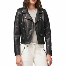 DKNY NEW Women's Black Faux-leather Star Print Motorcycle Ja