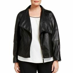 ANNE KLEIN NEW Women's Black Plus Size Leather Motorcycle Ja