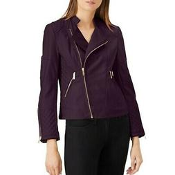 CALVIN KLEIN NEW Women's Faux-leather Quilt Motorcycle Jacke