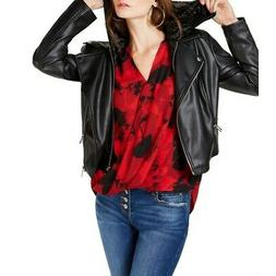 INC NEW Women's Faux Leather Velvet Hoodie Motorcycle Jacket