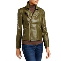 INC NEW Women's Olive Embroidered Faux-leather Motorcycle Ja
