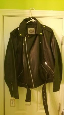 NEW WOMEN'S S 1x LEVI'S RELAXED BLACK MOTO JACKET MOTORCYCLE