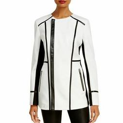 INC NEW Women's White Faux-leather-trim Motorcycle Jacket To