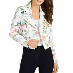 INC NEW Women's White Multi Floral-print Sequin Motorcycle J