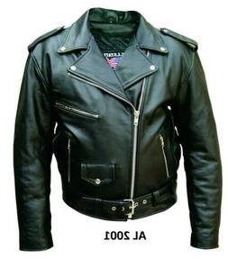 NWOT Mens Classic Black Belted Allstate Leather Motorcycle B