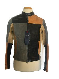 NWT $1210 ARMANI JEANS Motorcycle Leather Jacket Multicolor