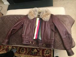 NWT COACH Legacy Brown Leather motorcycle Jacket Coyote fur