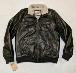NWT Levi's Premium Sherpa Lined Brown Faux Leather Men Biker