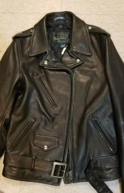 NWT PERFECTO SCHOTT NY BIKER motorcycle LEATHER BLACK S