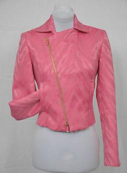 ETCETERA PINK ABSTRACT ANIMAL PRINT CROPPED MOTORCYCLE JACKE
