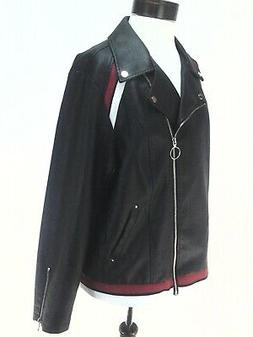 INC Pleather Jacket Biker Motorcycle Black Red White Varsity