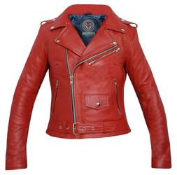 Premium Ladies Girls Red Genuine Cowhide Leather Brando Bike