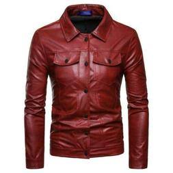 PU Leather Mens Leisure Motorcycle Multi-pockets Jacket Outw