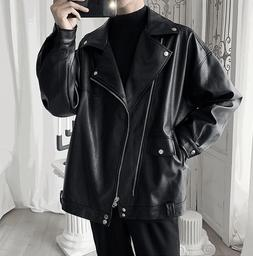 Punk Coat Men's Motorcycle Leather Jacket Lapel Zipper Butto