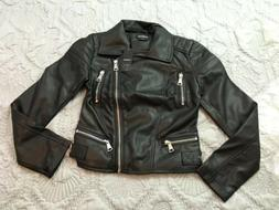 BEBE Quilted Faux Leather Moto Motorcycle Jacket Jet Black S