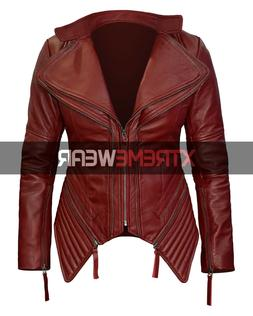 Red Biker Real Leather Jacket Women Cafe Racer Asymmetrical
