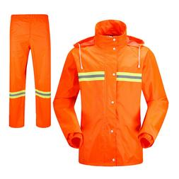 Reflective Waterproof Rain Suit Jacket Pant Biker Rainwear O