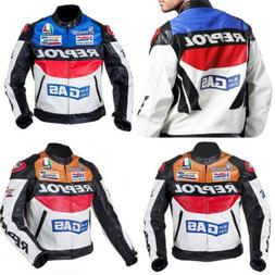 REPSOL Men Motorcycle Leather Racing Suits Armor Riding Prot