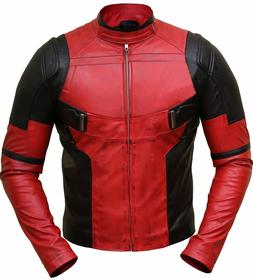 Ryan Reynolds Deadpool Front Zip Closure Red and Black Leath
