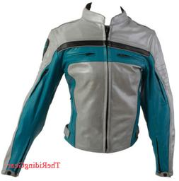 Size XS Women Turquoise Motorcycle Riding Biker Armored Real