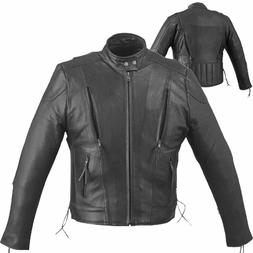 Solid Genuine Cowhide Leather Motorcycle Cruiser Jacket Coat