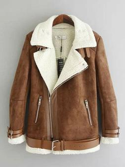 suede jacket shearling coat brown zip up