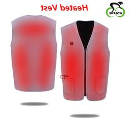 USB Thermal Electric Heated Vest Warm Jacket Tops Winter Ful