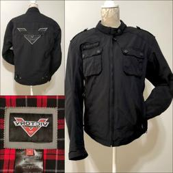VICTORY Motorcycle Jacket Black Logo Women's M Lining with A