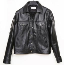 Western Classic Trucker Real Leather Jacket Jean Style Slim