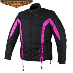 Women Motorcycle Black Pink Durable Textile Jacket With Zipp