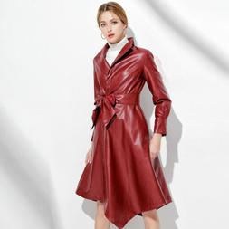 Women's Asymmetric Leather Trench Coat Stand Collar Windbrea
