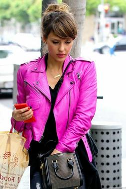 Women's Biker Motorcycle Jacket HOT PINK 100% Genuine Lambsk
