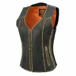 Milwaukee Leather Women's Distressed Brown Leather Vest W/ L