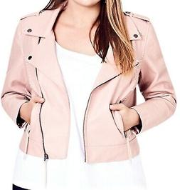 City Chic Women's Jacket Light Pink Size XXL Faux-Leather Mo