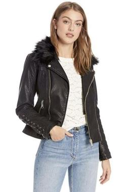GUESS Women's Leather Moto Jacket with Removeable Faux Fur T