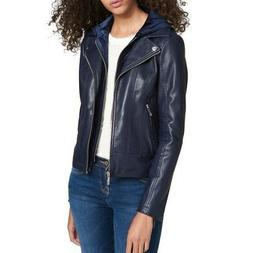 TOMMY HILFIGER Women's Navy Layered Velvet Hood Motorcycle J