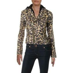 Aqua Womens Brown Animal Print Short Motorcycle Jacket Outer