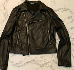 Womens Beautiful Black Pleather Jacket, Size Extra Small. Fr