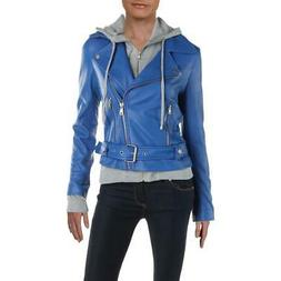 Aqua Womens Blue Winter Leather 3-In-1 Motorcycle Jacket Out