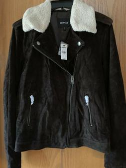 Women's Express Brown Suede Motorcycle Jacket Removable Fl