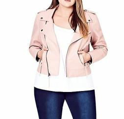 City Chic Womens Jacket Pink Size XXL/ 24 Plus Whipstitched