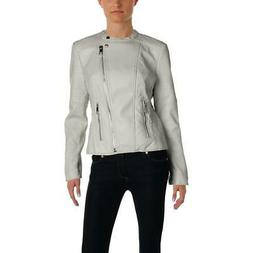 Guess Womens Jazmin Gray Faux Leather Motorcycle Jacket Coat