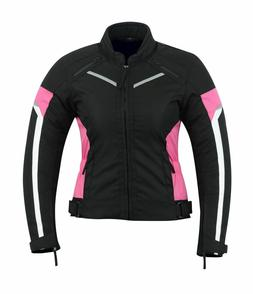 WOMENS MOTORCYCLE ARMORED PROTECTION WATERPROOF JACKET BLACK
