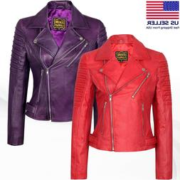 Women's Motorcycle Biker Real Leather Jacket Lambskin Leat