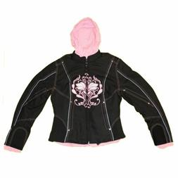 WOMENS MOTORCYCLE EMBROIDERED JACKET PINK w/ ZIP-OUT HOOD -
