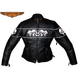 Womens Motorcycle Racer Black Leather Jacket With Reflective