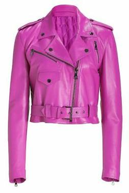 Womens Pink Leather Jacket Motorcycle Genuine Lambskin Size